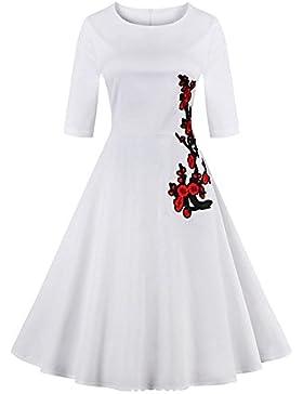 Louis Rouse mujeres Vintage Retro vestido mangas tres cuartos bordado vestido ciruela