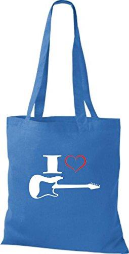 Shirtstown Pochette en tissu Musique I Love Guitare électrique Bleu - Bleu roi