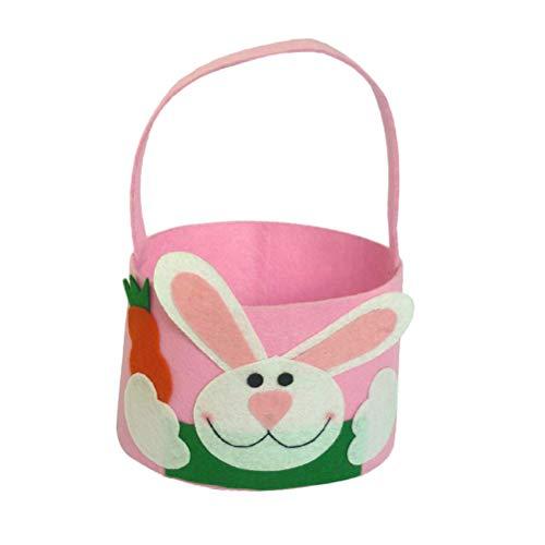 Amosfun Ostern Korb Ostern Geschenk Bunny Candy Basket Kaninchen Muster Cookie Dessert Stoffbeutel Oval Pouch Party Favors (Pink)