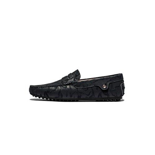 OPP Chaussures de Ville Mocassins en Cuir Bateau Pour Hommes Noir
