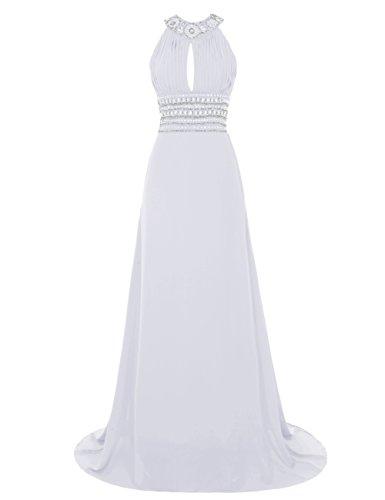 Find Dress Sexy Robe de Soirée Longue Femme Fille Décolleté au Dos Paillette Robe Demoiselle d'Honneur Princesse Fille Mousseline Souple Robe de Mariée Sirène Femme Vintage Blanc