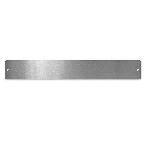 first4magnetsTM Kleine rechteckige Magnettafel/Strip c/w 6 Magnete-Edelstahl (350 x 50mm), Metall, Silver, 40 x 20 x 5 cm