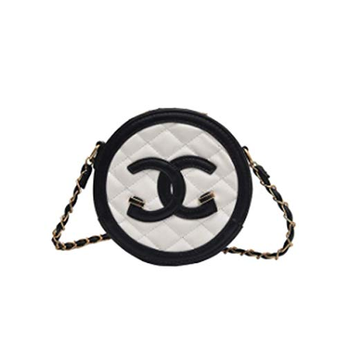 Damen Tasche Mode rhombische Umhängetasche wilde Messenger Bag lässig PU kleine runde Tasche weibliche Kette Tasche (Weiß, 12 * 6 * 16.5cm) - Vuitton Handtaschen