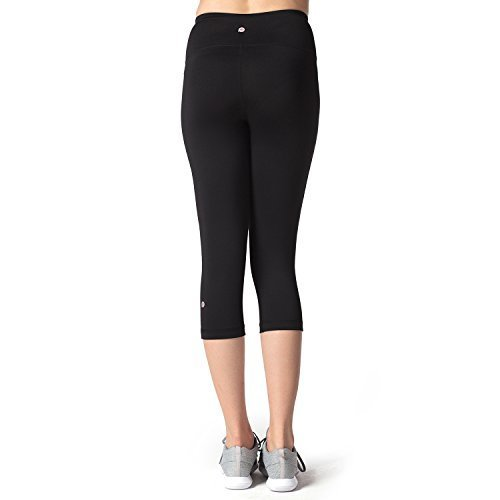 Lapasa Fit Yoga Crop Pants Capris Hidden Pocket Leggings for Women (Small, Black)