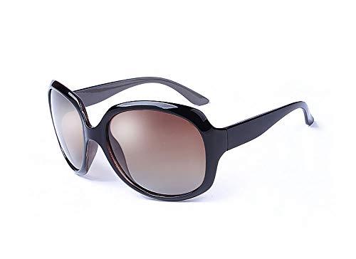 HYFZY Modische Damenbrille mit rundem Rahmen Explosionsgeschützte Gläser für weibliche Modelle UV-Schutz UV400-Gradient-Sonnenbrille,Brass