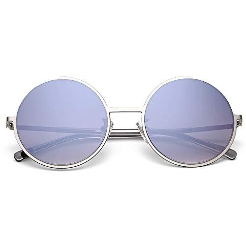 ODSHY Sonnenbrille weiblich Brille Farbverlauf Runde Rahmen Mode Sonnenbrille weiblich (Farbe : Silber, größe : 55mm-64mm)