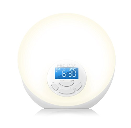 Medisana WL 444 Lichtwecker - Tageslichtwecker mit Snooze-Funktion und FM-Radio - mit 8 verschiedenen Naturklängen und 7 Wellnesslicht-Farben - 45110 -