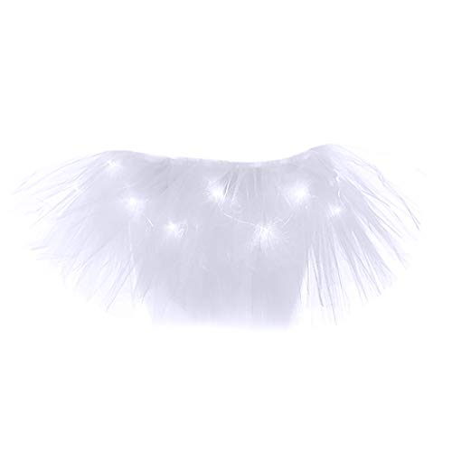 TIFIY Damen Tüllrock Mode 5 Schichten Ballettrock Mit LED Kleine Lampe Party Abend Tutu Rock Solide Unterrock Netzrock Elegant Petticoat(Weiß,One Size