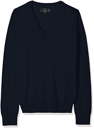 MERAKI Merino Pullover Damen mit V-Ausschnitt, Blau (Navy), 36 (Herstellergröße: Small)