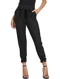 GRACE KARIN Pantalones Casuales de Cintura Alta de Mujeres Elegantes con Cinturón Decorado con Lazo