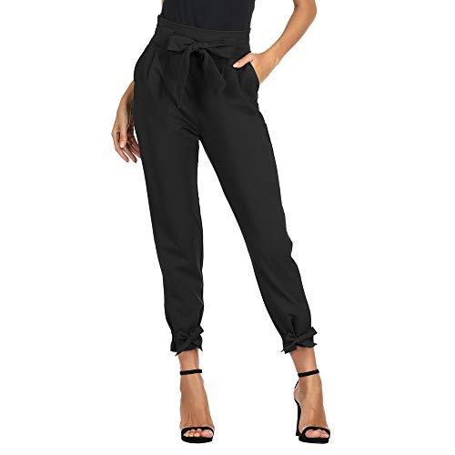 GRACE KARIN PantalóN Segaretta de Talle Alto para Mujer Elegante Decorado con Lazo de Luz Negro L CL10903-1