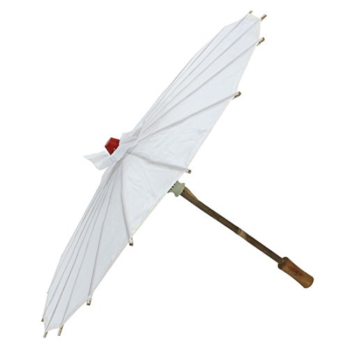 sourcingmap Mujer De Partido De Baile Marco De Bambú Tradición China Sombrilla Parasol Blanco