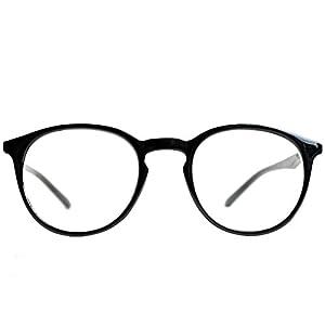 MiniBrille Klassische Nerd Lesebrille mit großen runden Gläsern – mit GRATIS Etui, Kunststoff Rahmen für Damen und Herren