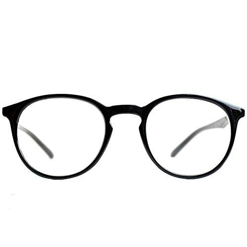 Klassische Nerd Lesebrille mit großen runden Gläsern - mit GRATIS Etui | Kunststoff Rahmen (Schwarz) | Lesehilfe für Damen und Herren von Mini Brille | +2.5 Dioptrien