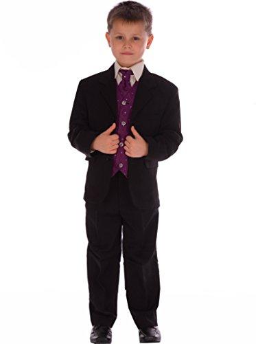 Jungen Anzug, 5-teilig, Schwarz / Lila  - Schwarz - Black&Purple - 3 Jahre (Suit Jacket Check)