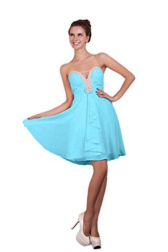 Bridal_Mall Damen Herzform Cocktailkleid Kurz A-Linie mit Strasssteinen Prom Abendkleider Blau