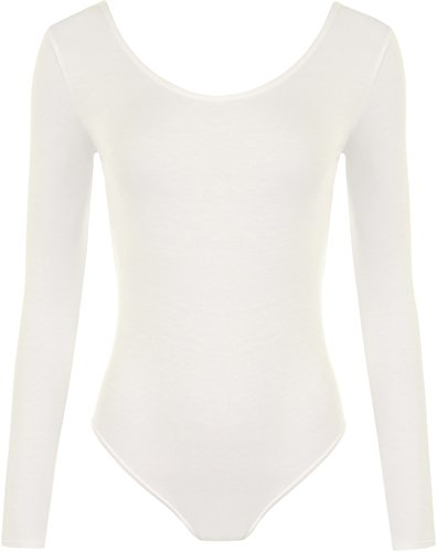 WearAll - Damen body elastisch langarm Bodysuit Top - Crème - 36-38