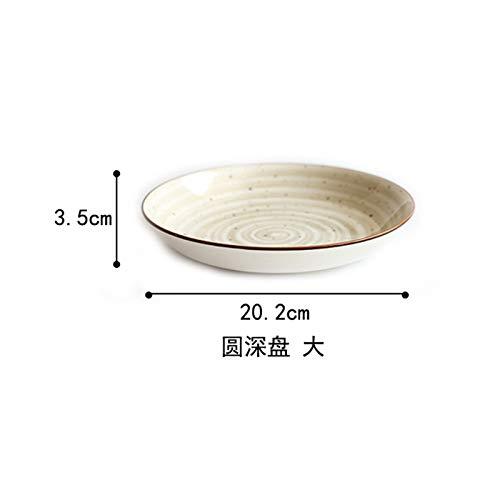 Japanischen Stil Handbemalte Unterglasur Keramik Geschirr Set Haushalt Teller Teller Reisschüssel Suppenschüssel Schüssel Schüssel Braun 8 Zoll Runde Tiefe Schale