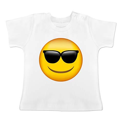 Jugendliche Kostüm Coole Für - Anlässe Baby - Emoji Sonnenbrille - 12-18 Monate - Weiß - BZ02 - Baby T-Shirt Kurzarm