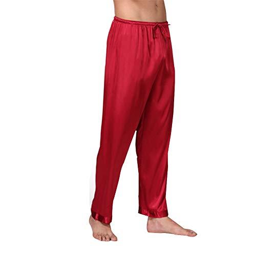 Männer Einteilige einfarbige Seiden-Pyjamahosen Ou-Code Verlängern Sie Hosen-Pyjamahosen Ferien-Freizeit-Ausgangshosen,Red,L