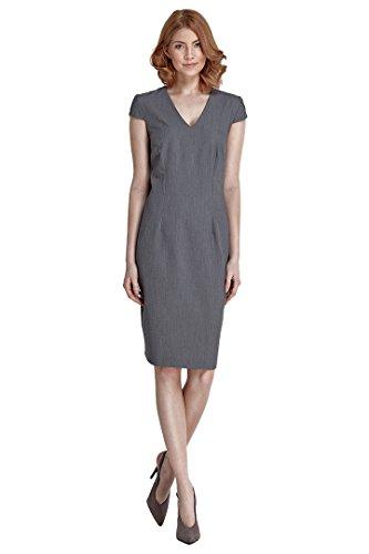 VictoriaV nife - Etuikleid mit kurzen Ärmeln Kurzarm Knielang Bleistift-Kleid Pencilkleid Büro Office - Grau Größe 42