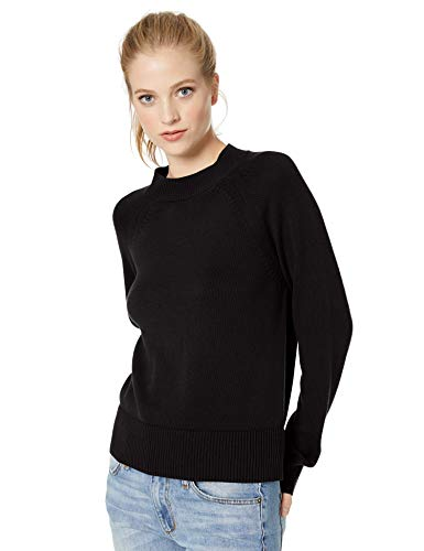 Schwarz Mock Turtleneck (Daily Ritual 100% Cotton Mock-Neck Sweater Pullover, Schwarz Black), US S (EU S - M))