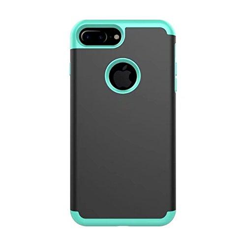iPhone 8 Plus Hülle, Lantier 2in1 Hybrid Case für iPhone 8 Plus. Hard Cover für iPhone 8 Plus Printed Design Pc+ Silicone Hybrid High Impact Defender Case Combo Hard Soft für Apple iPhone 8 Plus Schwarz Grün