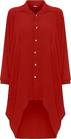 WEARALL Damen Übergröße Batwing Hemd Kleid Lang Hülle Tauchen Saum Hi Es Schaltfläche Kragen Damen - Rot - 48-50
