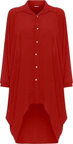 WEARALL Damen Übergröße Batwing Hemd Kleid Lang Hülle Tauchen Saum Hi Es Schaltfläche Kragen Damen - 5 Farben - Größe 44-54 Rot