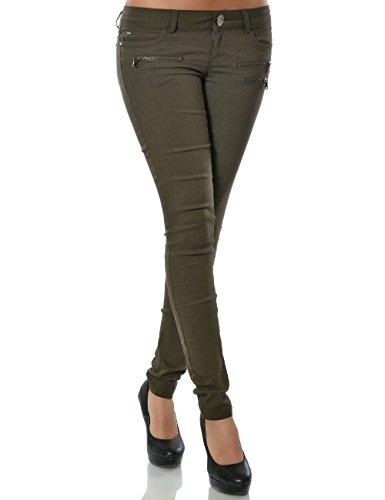 Damen Hose Treggings Skinny Röhre (weitere Farben) No 15528, Farbe:Khaki;Größe:36 / S (Damen Khaki Hose,)