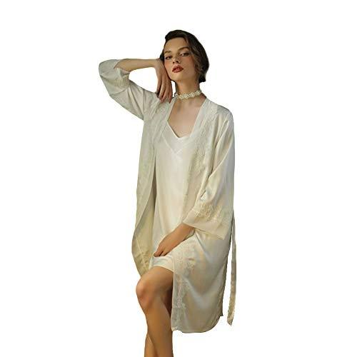 WX-ICZY Frauen Silk Pyjamas, Kimono Roben reizvolle reizend Bequeme Breathable Luxusmode-Leibchen Pyjamas Zweiteilige,L