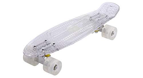 Maronad transparent Retro Skateboard LED klarer leuchtrollen ABEC 7 (Weiß)