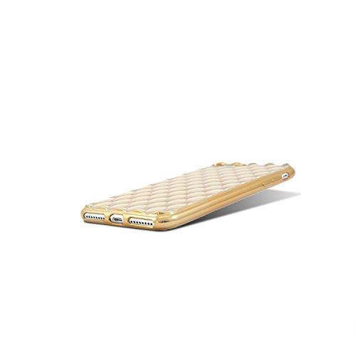 HULI Diamond Case Hülle Schwarz für Apple iPhone 7 / 8 Smartphone - Diamant Handyhülle aus TPU Silikon - Luxus Schutzhülle - sicherer Schutz Wabe Kaleidoskop Gold