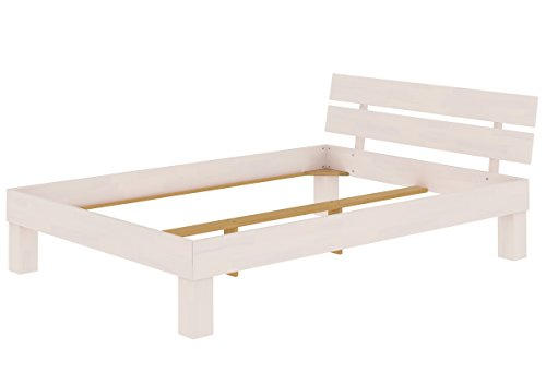 Erst-Holz® Futonbett Doppelbett 140×200 Ehebett Massivholzbett Buche waschweiß 60.86-14 W oR