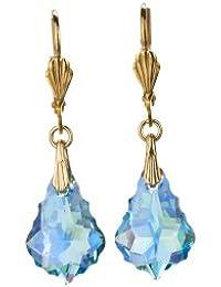 Ohrhänger, vergoldet mit SWAROVSKI ELEMENTS Crystal in der Farbe Aquamrine Aurore Boreale