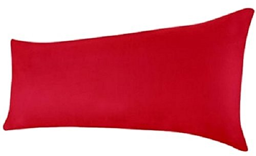 Queens Land Home Bolster Pillow Case Pregnency Pregnency Maternity Orthopeadic Support Pillow Case Cover (4.6 FT (19 x 52cm), Red)