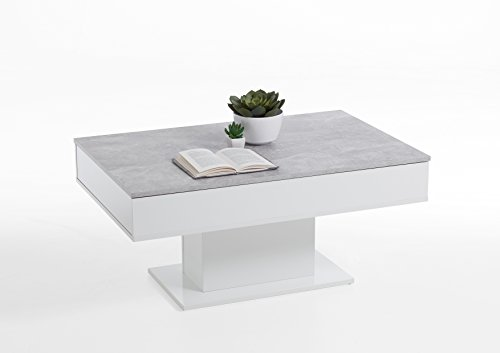 Couchtisch Säulen Beistelltisch Ausziehbar Ablagetisch 100,5x65,5cm Weiß/Beton homeforyou24 -