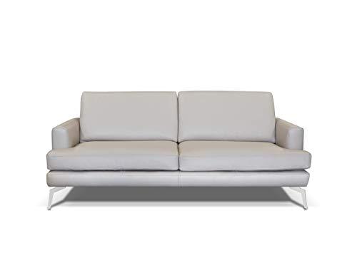 Alkove - canapé moderne en cuir Palma, 3places, MINÉRAL