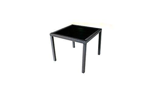 Table de Jardin en résine tressée Noir 80x80 cm