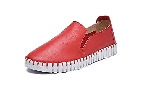 Dames Femmes Nouveaux Flats Chaussures Uniques Douces Loisirs Chaussures Chaussures À Pied , Red , EUR 39/ UK 6-6.5