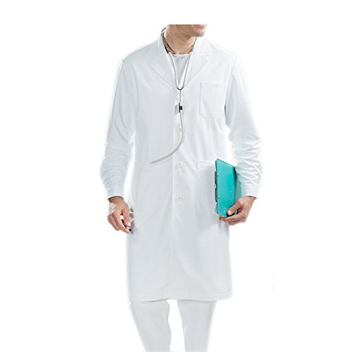 Herren Klassische Laborkittel (BSTT Herren Laborkittel Weiß Medizin Arbeitskleidung Uniformen-2018 neue verbesserung dicke S)
