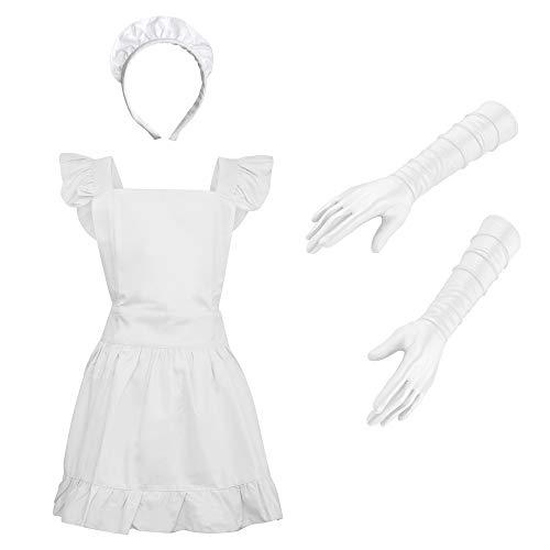 Flirty Maid Kostüm - aspire Küchenschürze Retro Cotton Frilly Maid Schürze Vintage Kostüm Weiß Apron & Lace Headband & Gloves