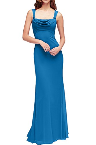 Sunvary Elegant Bodenlang Neu Chiffon Etui Traeger Abendkleider Mutterkleider 2017 Blau