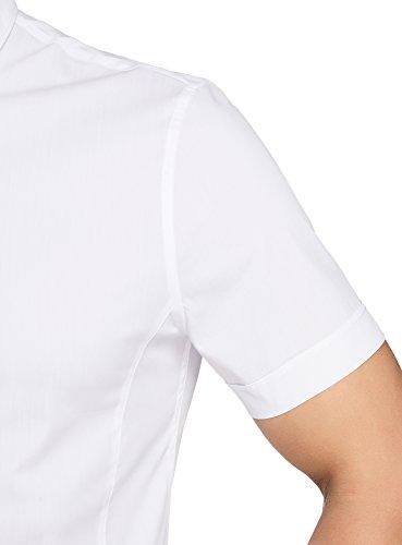 oodji Ultra Herren Kurzarm-Hemd Basic Weiß (1000N)
