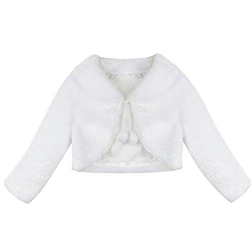 iEFiEL Mädchen Kinder Winter Jacke Schulterjacke Kunstpelz Bolero Strickjacke in Weiß/Rosa/Ivory Festliche Jacke Langarm Ivory 110-116