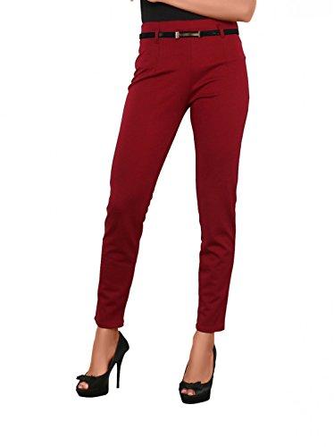 Damen Hose gerades Bein inkl. Gürtel ( Röhre Nr: 414 ) Bordeaux