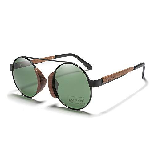 Yiph-Sunglass Sonnenbrillen Mode Retro Klassiker Männer Frauen Polarisierte Bambus Brille Runder Rahmen Holz Sonnenbrille (Color : Grün, Size : Kostenlos)