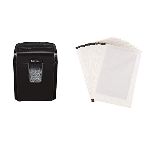Fellowes Powershred 8C Partikelschnitt Aktenvernichter (P-4) (8 Blatt Papierschredder mit Sicherheitssperre für Zuhause) & AmazonBasics - Schmiermittelblätter für Aktenvernichter, 12er-Pack (Amazon Basic 12 Blatt Schredder)