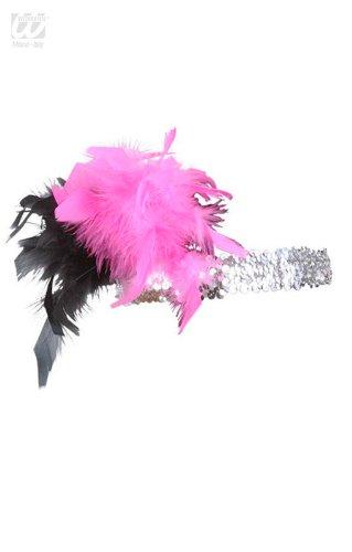 Pailletten Stirnband Flapper (Flapper Pailletten Stirnband Silber / Pink /)