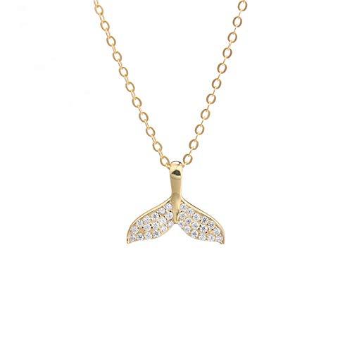 DZSF 925 Sterling Silber Dolphin Anhänger Zirkon Halskette Marine Fischschwanz Schlüsselbein Kette Choker für Frauen Mädchen mit Geschenk Exquisite Box -